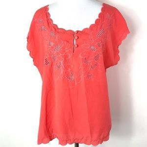 UO Pins & Needles Coral Floral Embroidered Top
